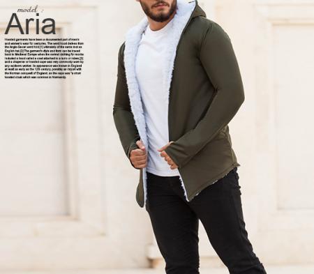 هودی خزدار مردانه مدل Aria (تمام خز)
